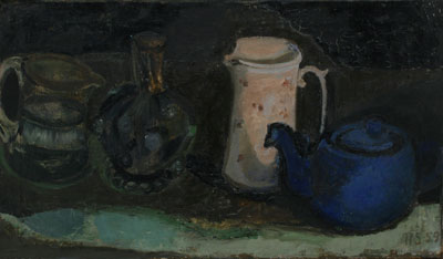 Teapot and pink jug