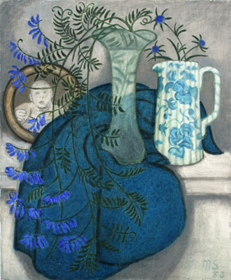 Blue Vetch and jug